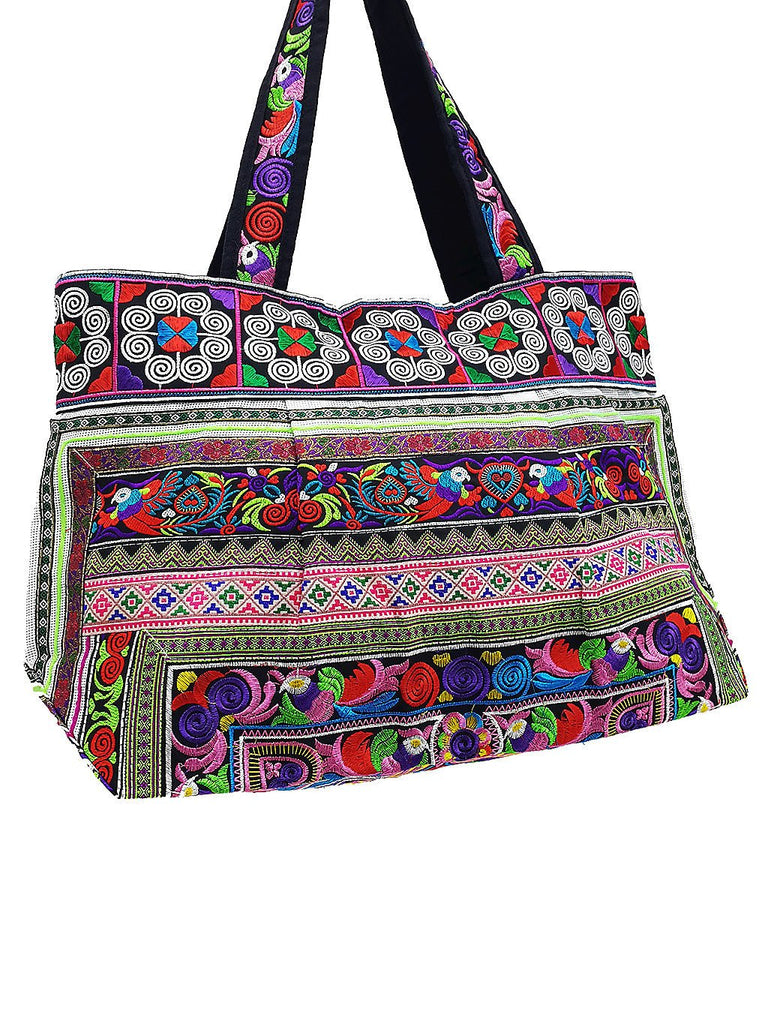Thai Hill Tribe Bag Hmong Bag Cotton Bag Embroidered Ethnic Purse Woven Bag Hippie Bag Hobo Bag Boho Bag Shoulder Bag Bird Pink Green HTB2-9