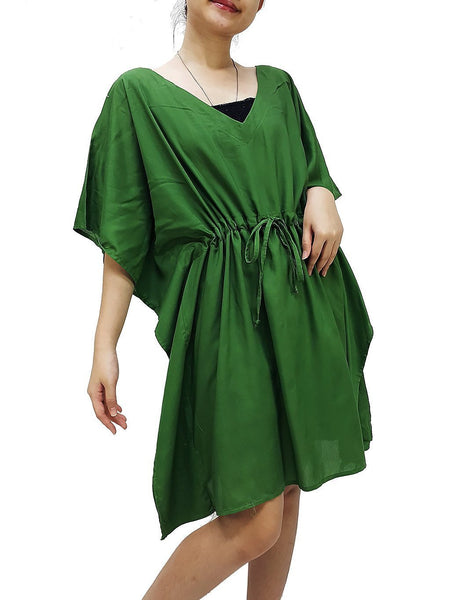 Plus Size, V neck, Rayon Kaftan, Beach Kaftan, Short Dress, Mini Dress, Tunic, Beach Cover up, Solid Wrap, Boho Clothing, Green KSS56