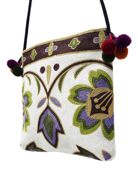 Thai Hill Tribe Bag Pom Pom Hmong Bag Cotton Bag Woven Bag Purse Hippie Bag Clutch Sling Bag Crossbody Bag Flower White Brown HCB6