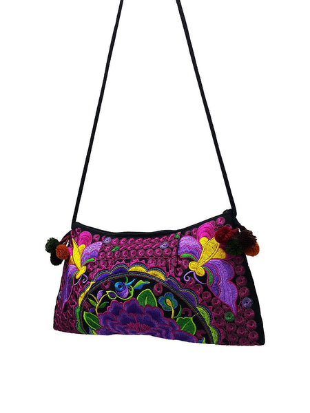 Hill Tribe Bag Pom Pom Hmong Bag Embroidered Ethnic Purse Woven Bag Hippie Bag Clutch Sling Bag Crossbody Bag Butterfly Flower Pink HTP9