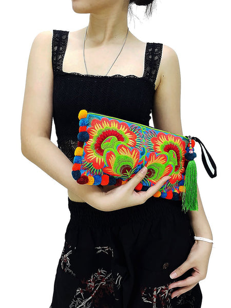 Thai Hill Tribe Bag Pom Pom Purse Hmong Bag Embroidered Ethnic Woven Bag Hippie Bag Clutch Tassel & PomPom Charm Flower Green Blue HTCP1
