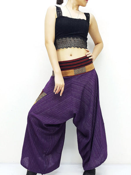 Cotton Women Harem Pants Yoga Pants Samurai Pants Maxi Pants Gypsy Pants Drop Crotch PantsTrouser Convertible Pants Purple (LSC19)
