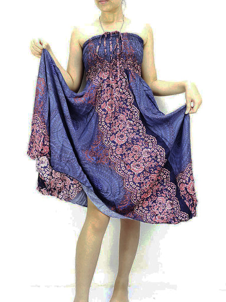 Natural Cotton Convertible Dresses Skirts Navy Blue (DS58)