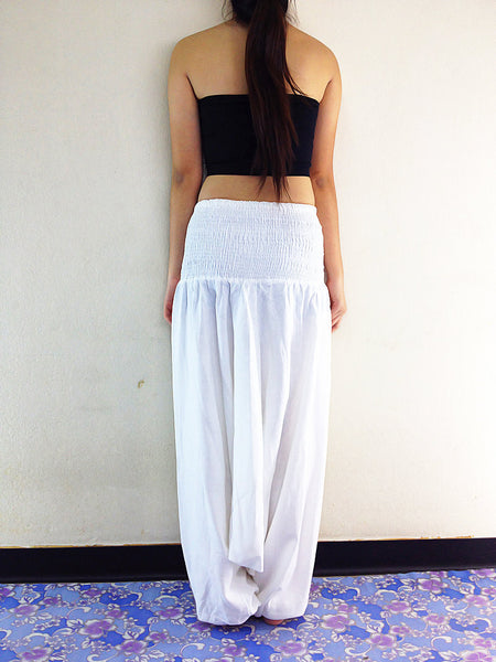 Handmade Harem Pants Cotton Boho Pants Solid Color White (HC0), NaughtyGirl, HaremPantsThai