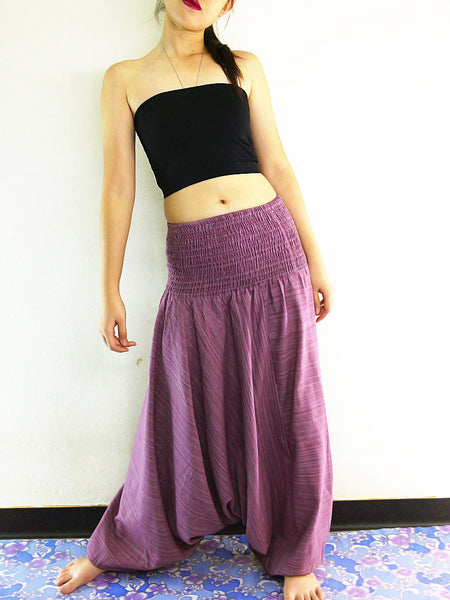 Handmade Harem Pants Cotton Boho Pants Solid Color Pink Purple (HC23), NaughtyGirl, HaremPantsThai