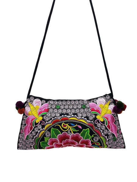 Hill Tribe Bag Pom Pom Hmong Bag Embroidered Ethnic Purse Woven Bag Hippie Bag Clutch Sling Bag Crossbody Bag Butterfly Flower Pink Red HTP7