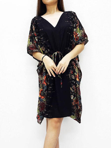 Plus Size, V neck, Rayon Kaftan, Beach Kaftan, Short Dress, Mini Dress, Tunic, Beach Cover, Printed Wrap, Boho Clothing, Brown KPS25