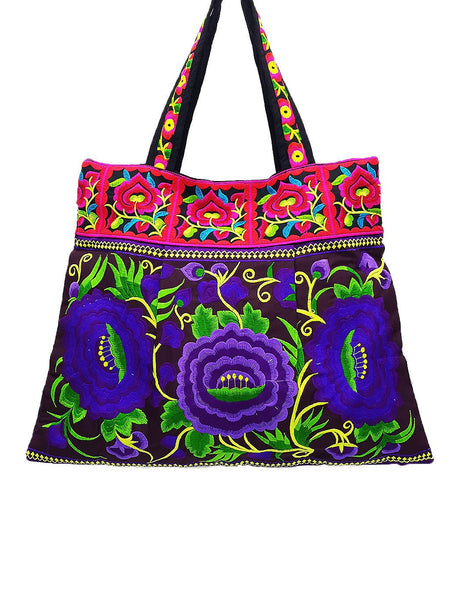 Hill Tribe Bag Hmong Bag Thai Cotton Bag Embroidered Ethnic Purse Woven Bag Hippie Bag Hobo Bag Boho Bag Shoulder Bag Flower Violet HTB1-1
