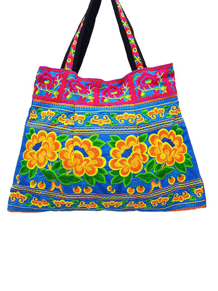 Hill Tribe Bag Hmong Bag Thai Cotton Bag Embroidered Ethnic Purse Woven Bag Hippie Bag Hobo Boho Bag Shoulder Bag Flower Blue Orange HTB1-4