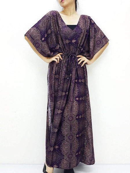 Plus Size, V neck, Rayon Kaftan, Beach Kaftan, Long Dress, Maxi Dress, Tunic, Beach Cover Up, Printed Wrap, Boho Clothing, Purple KPL29