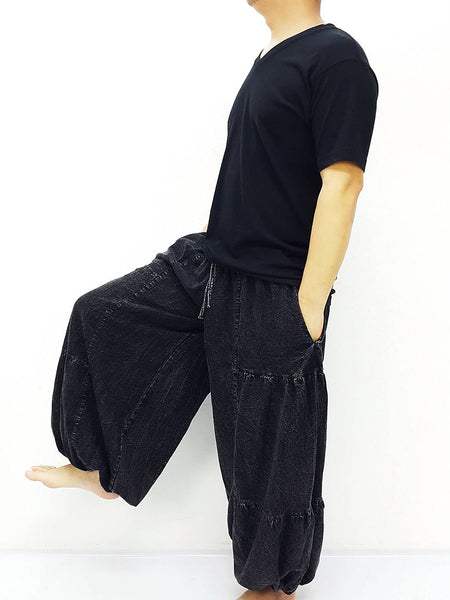 Black Harem Pants Bleached Cotton Pants Unisex Pants Aladdin Pants Maxi Pants Baggy Pants Gypsy Pants Trouser Cotton Pants Boho Pants (LCT6)