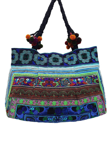 Hill Tribe Bag Pom Pom Hmong Thai Cotton Bag Embroidered Ethnic Purse Woven Bag Hippie Bag Hobo Bag Boho Bag Shoulder Bag Blue Green HTB2P12