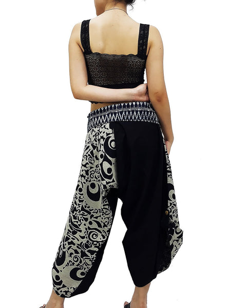 Samurai Pants Cotton Unisex Harem Pants Ninja Pants Aladdin Pants Maxi Pants Gypsy Pants Drop Crotch Pants Trouser Black White (MSS14)
