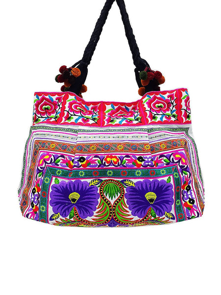 Thai Hill Tribe Bag Pom Pom Hmong Thai Cotton Bag Embroidered Ethnic Purse Woven Bag Hippie Bag Hobo Bag Boho Bag Shoulder Bag Flower HTB2P4