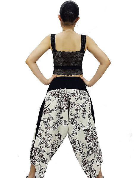 Samurai Pants Cotton Unisex Harem Pants Ninja Pants Aladdin Pants Maxi Pants Gypsy Pants Drop Crotch Pants Trouser White (MSP24)