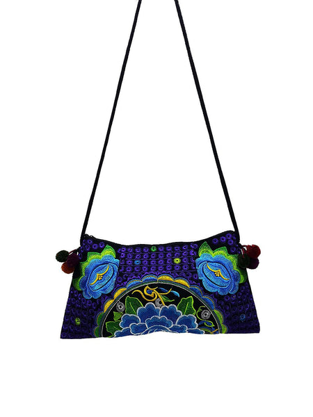 Thai Hill Tribe Bag Pom Pom Hmong Thai Bag Embroidered Ethnic Purse Woven Bag Hippie Clutch Sling Bag Crossbody Bag Flower Blue Violet HTP1