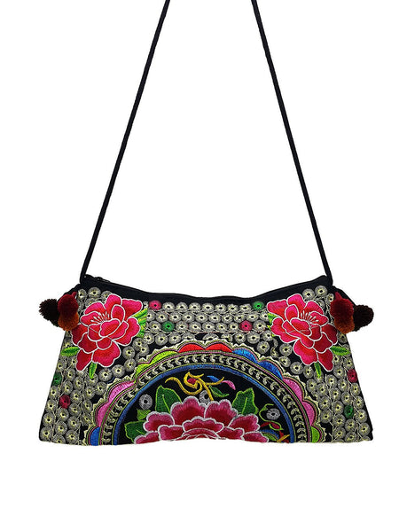Thai Hill Tribe Bag Pom Pom Hmong Thai Bag Embroidered Ethnic Purse Woven Bag Hippie Bag Clutch Sling Bag Crossbody Bag Flower Hot Pink HTP5