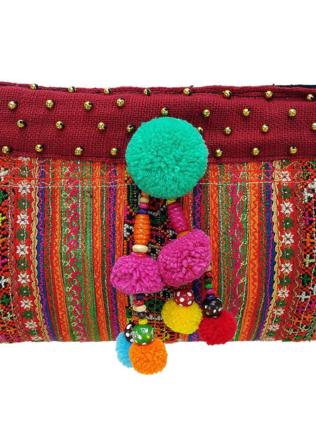 Hill Tribe Bag Handmade PomPom Purse Hmong Bag Embroidered Ethnic Woven Bag Hippie Bag Tribal Clutch Handbags Crossbody Sling Bag Orange HB4