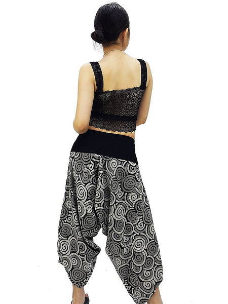 Samurai Pants Cotton Unisex Harem Pants Ninja Pants Aladdin Pants Maxi Pants Gypsy Pants Drop Crotch Pants Trouser Black (MSP23)