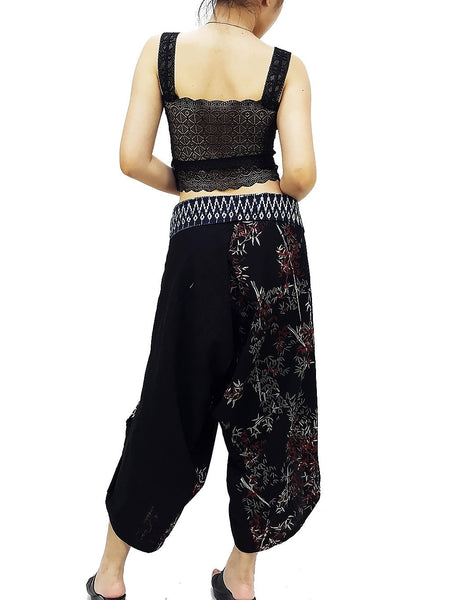 Samurai Pants Cotton Unisex Harem Pants Ninja Pants Aladdin Pants Maxi Pants Gypsy Pants Drop Crotch Pants Trouser Black Gray Red (MSS22)