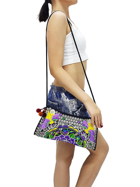 Hill Tribe Bag Pom Pom Hmong Bag Embroidered Ethnic Purse Woven Bag Hippie Bag Clutch Sling Bag Crossbody Bag Butterfly Flower Purple HTP8