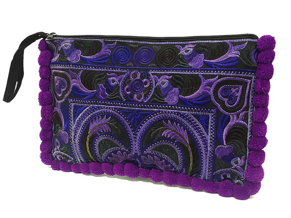 Thai Hill Tribe Bag Pom Pom Purse Hmong Bag Embroidered Ethnic Woven Bag Hippie Bag Tribal Clutch Handbags Flower Bird Purple Violet HTC8