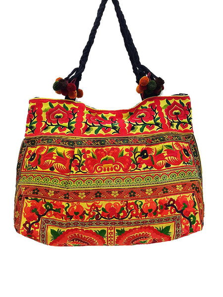 Thai Hill Tribe Bag Pom Pom Hmong Thai Cotton Bag Embroidered Ethnic Purse Woven Bag Hippie Bag Hobo Bag Boho Bag Shoulder Bag Flower HTB2P8