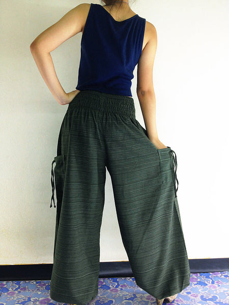 Natural Cotton Harem Trousers Solid Color Green (TCC15), NaughtyGirl, HaremPantsThai