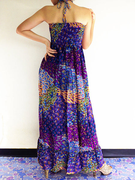 Rayon Maxi Dress Hobo Hippie Boho Bohemain Hippie Gypsy Style Purple Blue (DL21), NaughtyGirl, HaremPantsThai