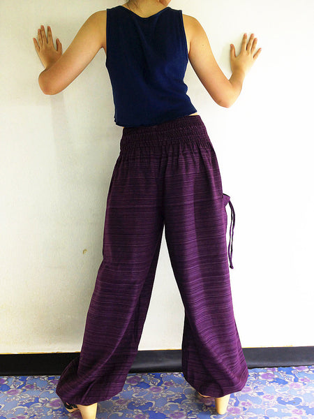 Natural Cotton Harem Trousers Solid Color Purple (TCC19), NaughtyGirl, HaremPantsThai