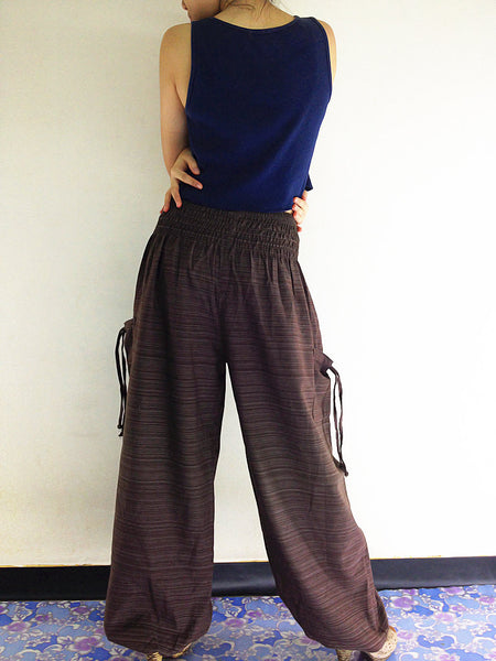 Natural Cotton Harem Trousers Solid Color Brown (TCC18), NaughtyGirl, HaremPantsThai