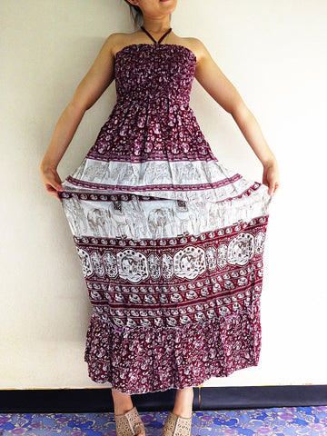 Thai Women Clothing Rayon Maxi Dress Hobo Hippie Boho Bohemain Hippie Gypsy Style Printed Elephant Red (DL28)