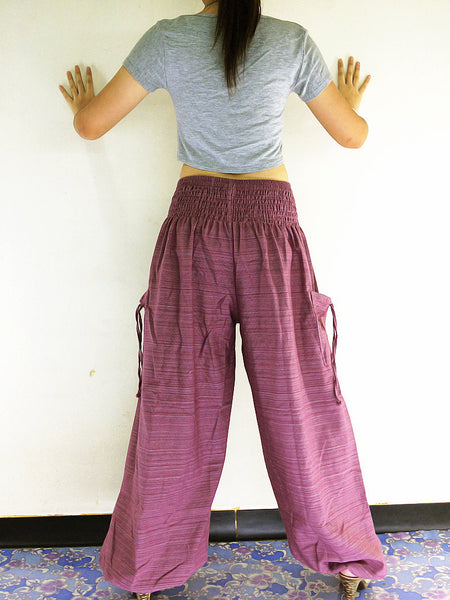 Natural Cotton Harem Trousers Solid Color Pink Purple (TCC23), NaughtyGirl, HaremPantsThai