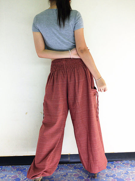 Natural Cotton Harem Trousers Solid Color Brick Red (TCC47), NaughtyGirl, HaremPantsThai