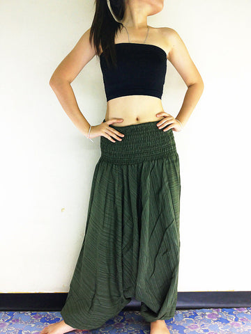 Handmade Harem Pants Cotton Boho Pants Solid Color Green (HC15), NaughtyGirl, HaremPantsThai