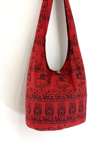 Cotton Handbags Elephant bag Hippie Hobo bag Boho bag Shoulder bag Sling bag Tote bag Crossbody bag  Red, VeradaShop, HaremPantsThai