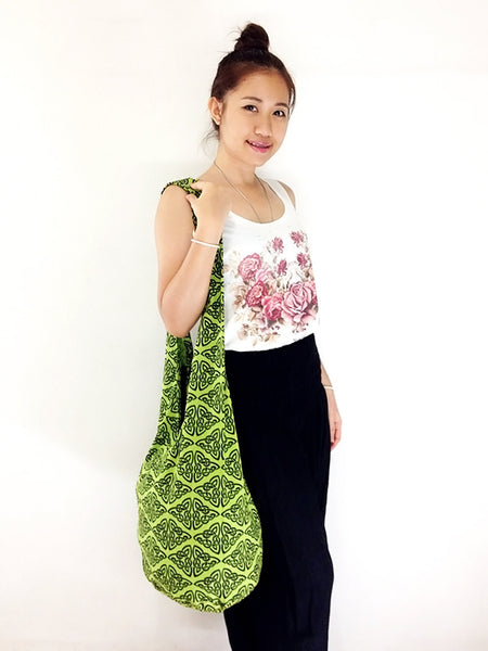 Cotton Handbags Hippie bag Hobo bag Boho bag Shoulder bag Sling bag Tote bag Crossbody bag Green, VeradaShop, HaremPantsThai