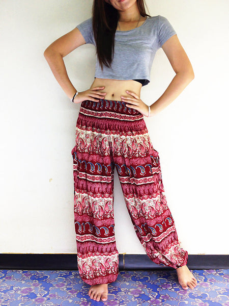 Handmade Harem Trousers Rayon Bohemian Trousers Hippie Boho Pants Paisley Dark Red (TS90)