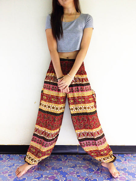 Handmade Harem Trousers Rayon Bohemian Trousers Hippie Boho Pants Paisley Yellow Red (TS89)