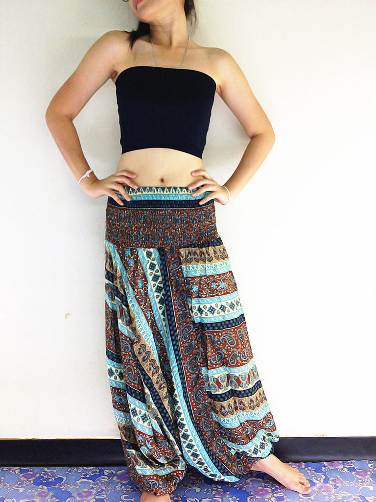 Handmade Harem Pants Yoga Pants Aladdin Boho Pants Jumpsuits Brown Blue (HP132)