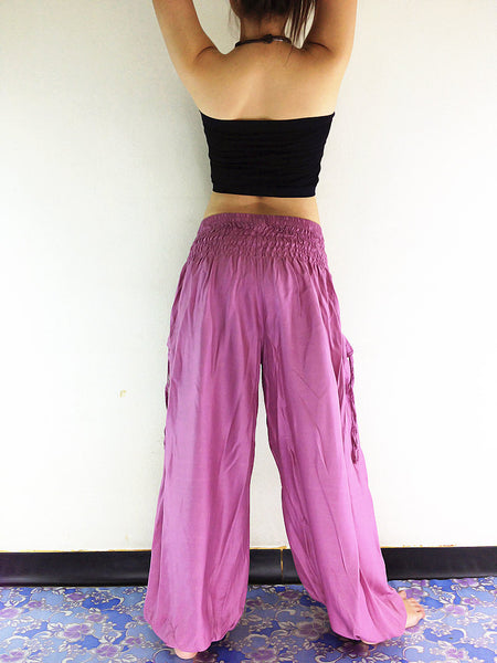 Handmade Harem Trousers Rayon Bohemian Trousers Hippie Boho Pants Solid Color Orchid Pink (TC23), NaughtyGirl, HaremPantsThai
