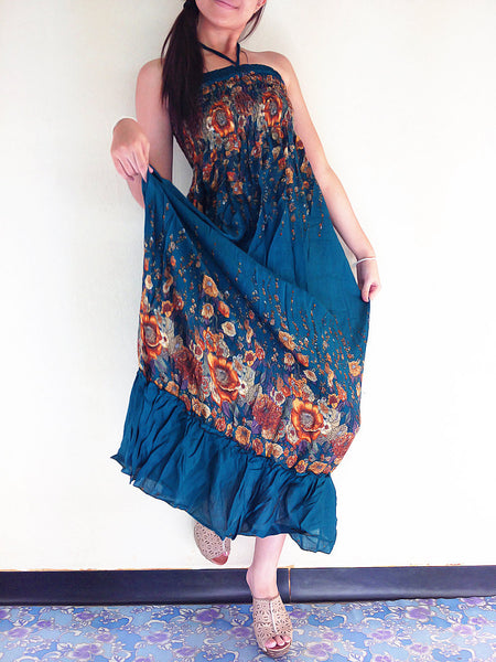 Thai Women Clothing Rayon Maxi Dress Hobo Hippie Boho Bohemain Hippie Gypsy Style Flower Printed Green Teal(DL31)