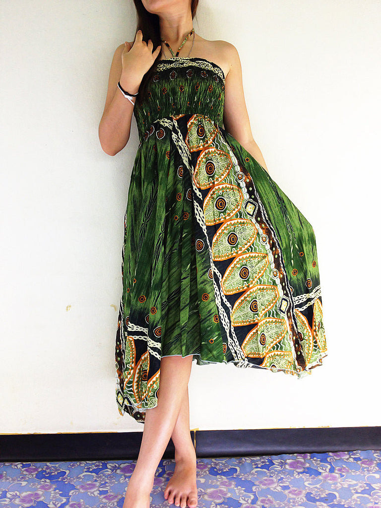 Thai Women Clothing Natural Cotton Convertible Dresses Skirts Green (DS49)