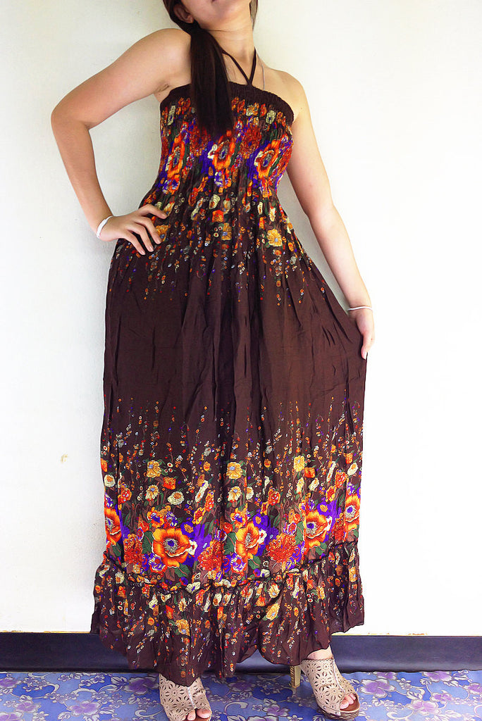 Thai Women Clothing Rayon Maxi Dress Hobo Hippie Boho Bohemain Hippie Gypsy Style Flower Printed Brown (DL32)