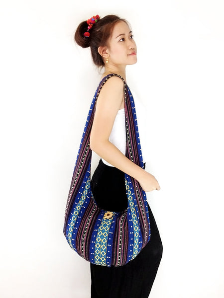 Woven Cotton bag Hobo Boho bag Shoulder Bag Sling bag Gypsy bag Crossbody bag Long straps (WF17), VeradaShop, HaremPantsThai