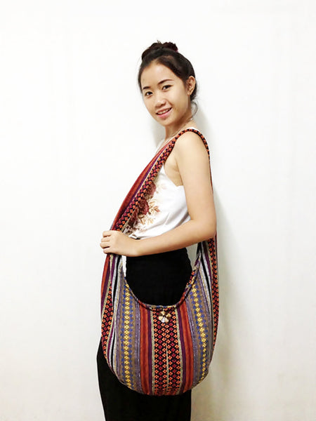 Woven Cotton bag Hobo Boho bag Shoulder Bag Sling bag Crossbody bag Long straps (WF46), VeradaShop, HaremPantsThai