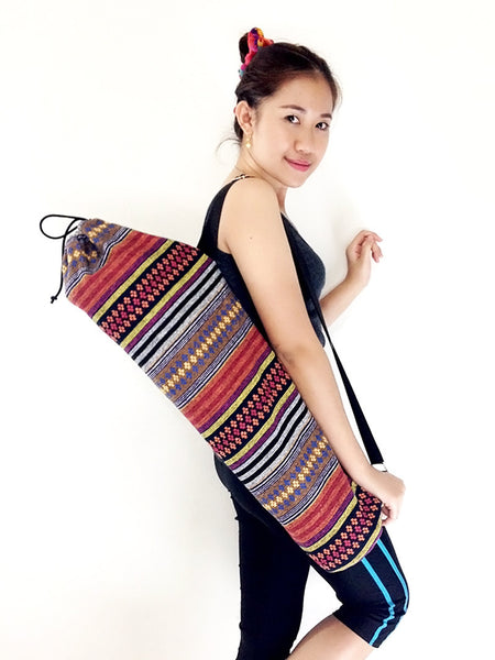 Handmade Yoga Mat Bag Yoga Bag Sports Bags Tote Yoga Sling bag Pilates Bag Pilates Mat Bag Woven Cotton bag (WF46)