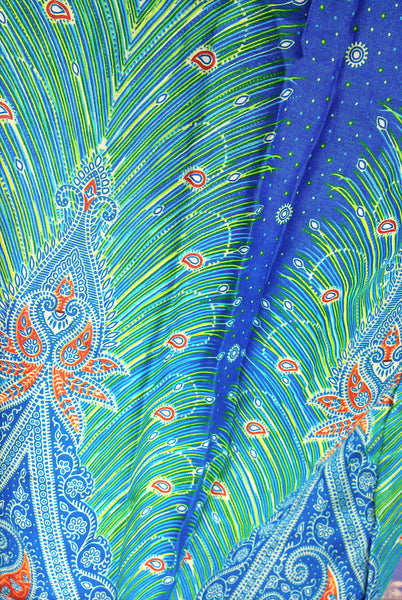 Handmade Harem Trousers Rayon Bohemian Trousers Hippie Boho Pants Feather Blue (TS97), NaughtyGirl, HaremPantsThai