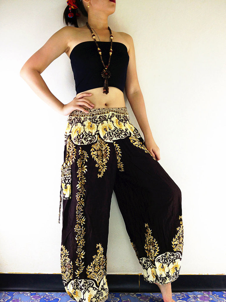 Harem Pants Yoga Pants Aladdin Pants Pants Handmade Harem Trousers Rayon Hippy Pants Trouser Flower Dark Brown (TS108)