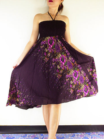 Thai Women Clothing Natural Cotton Convertible Dresses Skirts Dark Purple (DS50)